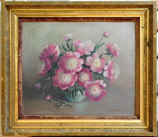 Antique oil on board still life painting depicting Athena Peonies by Ida Martin Clute