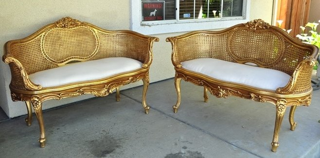 Pair of Louis XV style giltwood carved double caned wicker settees (canapé en corbeille)