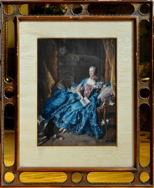 Antique chromolithograph after François Boucher of Madame de Pompadour in a blue dress with pink roses