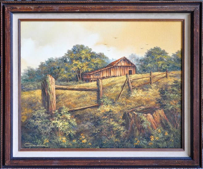 Oil on canvas painting of a barn by Griselda Tello