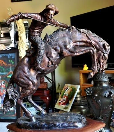 Bronze sculpture The Bronco Buster after Frederic Remington