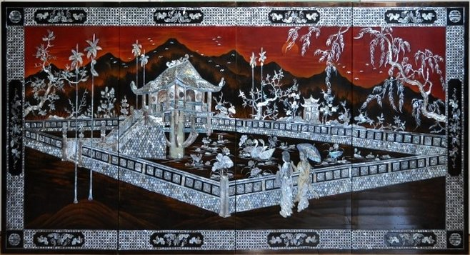Vietnamese lacquer painting with mother of pearl inlay depicting the One Pillar Pagoda