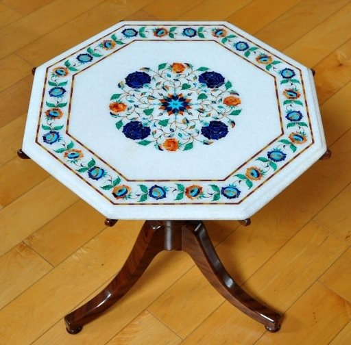 Octagonal Italian end table with pietra dura floral inlay on marble