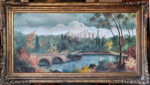 Elizabeth Hubbell oil on canvas landscape painting titled Ludlow Castle