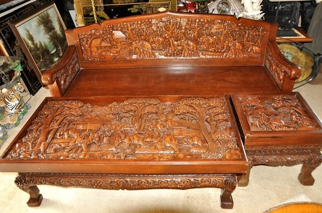 Teak Wood Sofa Coffee And End Table Set With 3D Relief