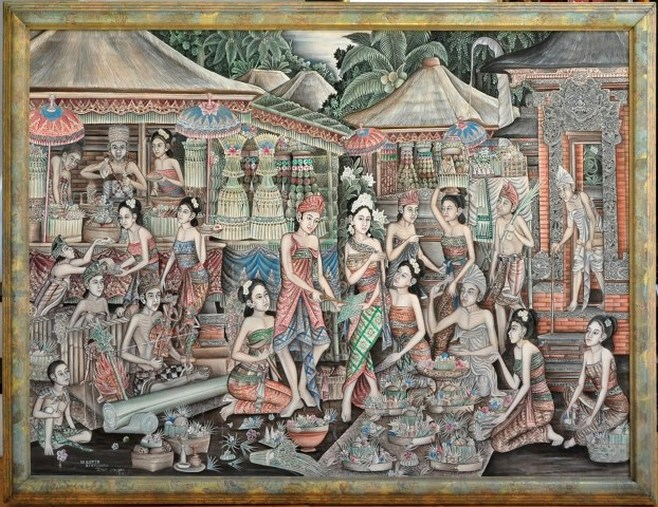Traditional oil on canvas painting from Ubud depicting a Balinese Hindu ceremony