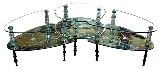 Hollywood Regency verre églomisé coffee and end table set by Goran of Belgium