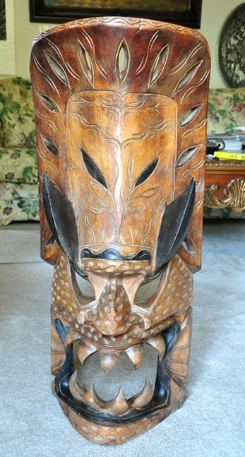 Large tribal wooden devil mask from the Philippines