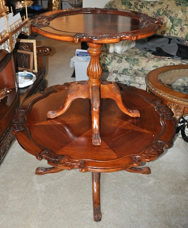 Victorian ornate wooden coffee and end tables with inlay
