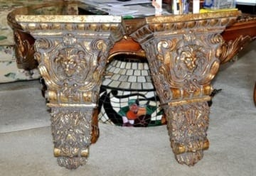 Pair of large ornate wall shelf sconces with lion head 3D relief art