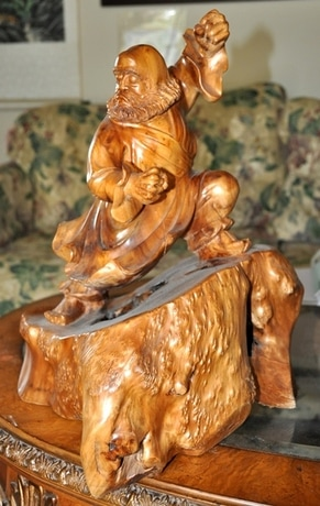 Wood carved sculpture of Chinese warrior