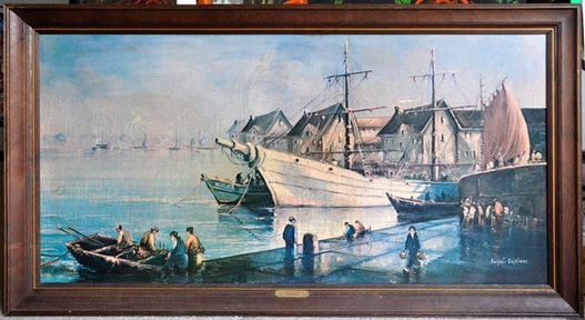 Framed print of Andres Orpinas painting Harbor Boats