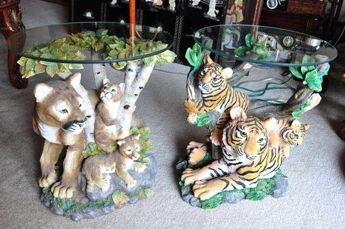 Unique end tables with sculptured bases of tiger and lion family