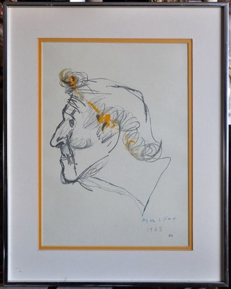 Vintage framed sketched portrait of a man