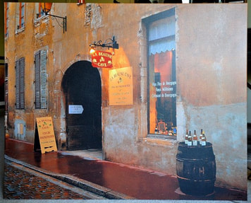 Giclee on canvas of French village bar scene titled Beaune Wine Cave by Locke Heemstra