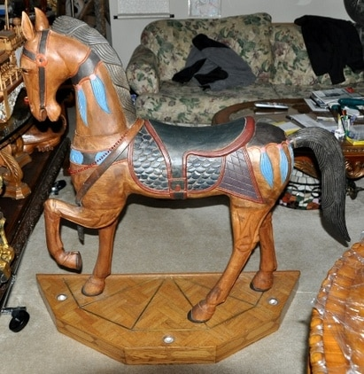 Large carousel style wood carved horse sculpture