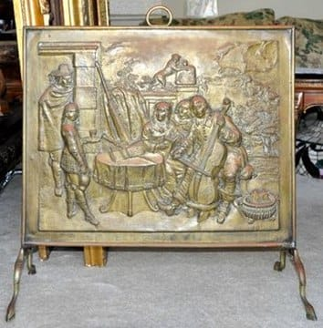 Victorian fireplace cover screen with embossed artwork