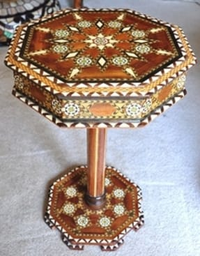 Spanish marquetry octagonal end table