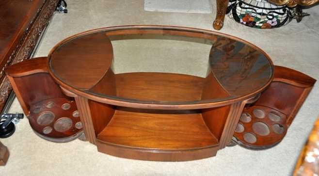 Rare Art Deco coffee table with sides that open up as a mini cocktail bar