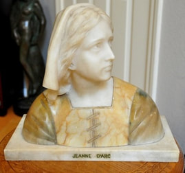 Prof. Giuseppe Besji (Bessi) alabaster and marble bust of Joan of Arc
