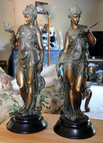 Pair of Art Deco patinated spelter sculptures of the deity Artemis or Diana