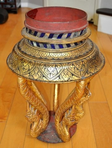 Antique Thai wooden planter stand with 5 carved Naga legs