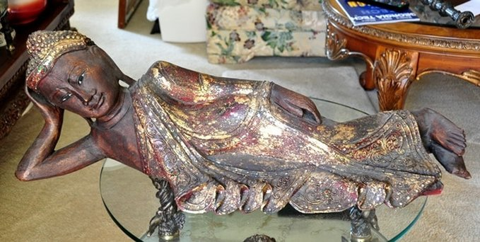 Reclining Buddha gilt wood sculpture carved in Thailand