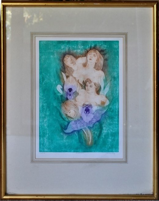 Signed limiteded colored engraving titled Orchidie by David Silverberg
