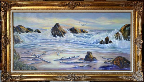 Oil on canvas seascape painting by Jo Marcelle in ornate frame