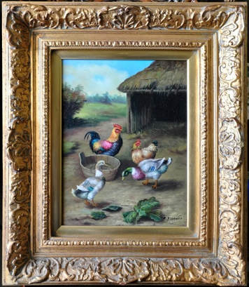 Oil on wood panel painting of chickens and ducks by C. Franco