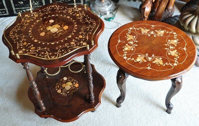 Pair of Italian beverage serving and end tables with marquetry artwork