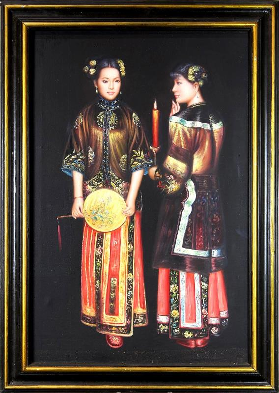 Hand-painted oil on canvas reproduction of Chen Yifei painting titled Waiting for the Rising Moon in the Western Chamber