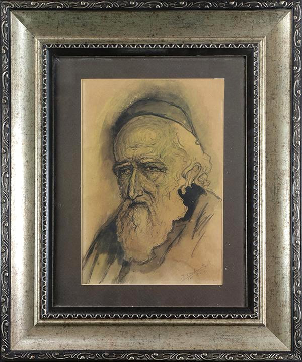 Ink on paper drawing of a rabbi by Samuel Zajdensztadt