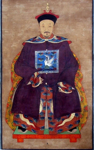 Antique painting of a Chinese official on textile