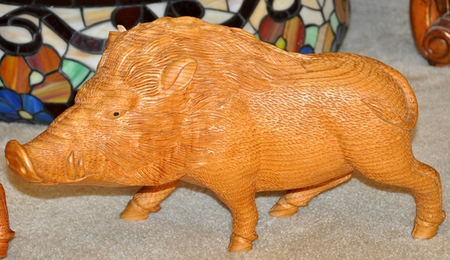 Large 16 inch long wood carved sculptures of pigs or wild boars