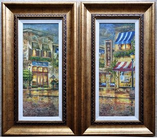 Pair of beautiful framed art of flower shop and gallery
