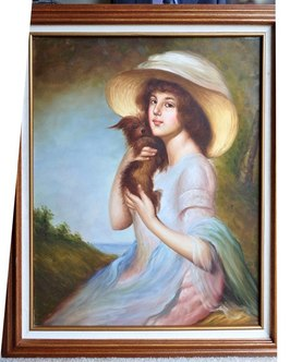 Oil on canvas painting of a girl with her cute dog