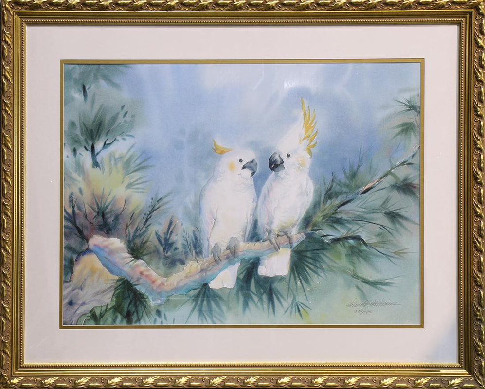 Richard E. Williams limited edition print depicting 2 cockatoos sitting on a tree branch