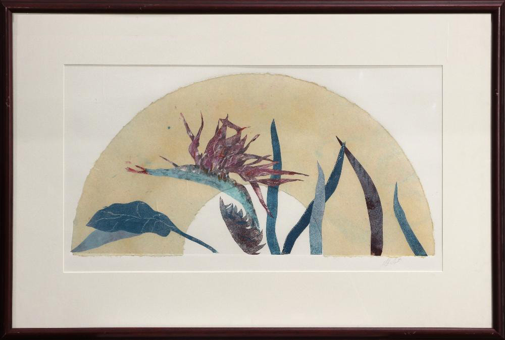 Mixed media painting of a bird of paradise plant