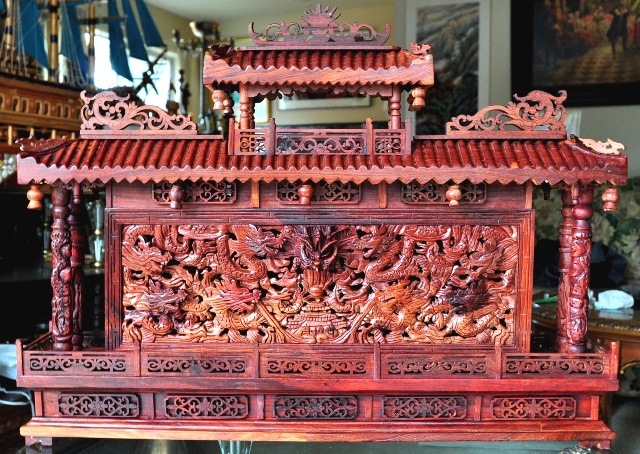 Chinese intricately carved wooden dragon wall sculpture