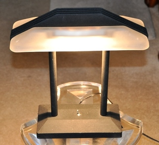 Banker's desk lamp with frosted glass shade and unique design