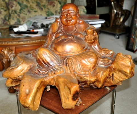 Burlwood carved laughing Buddha Hotai sculpture
