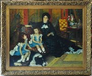 Replica oil on canvas painting Madame Charpentier and Her Children by Renoir in ornate frame