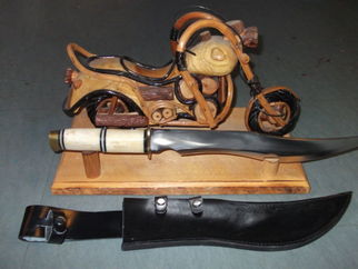 Motorbike sculpture knife display stand made of wood and rattan