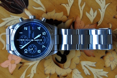 Maurice De Mauriac stainless steel chronograph watch with Mechanical-automatic Valjoux 7750 movement