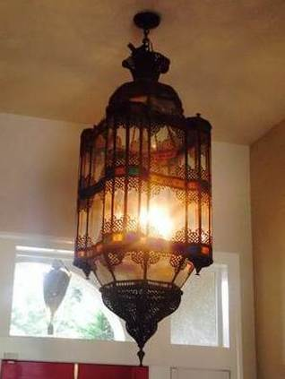 Monumental Moroccan antique lantern style metal and glass chandelier