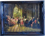 Hand painted reproduction of the painting Flute Concert with Frederick the Great in Sanssouci by Adolph Menzel​
