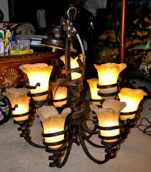 Rustic 9-light Tuscan style iron chandelier with cup shaped flower shades