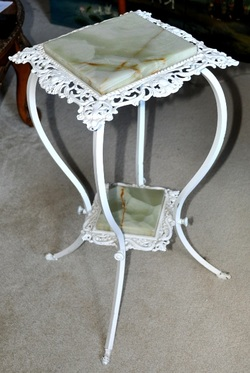 Victorian metal plant stand with onyx inserts