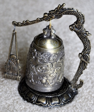 Asian dragon and Buddha brass bell